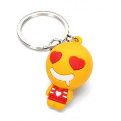 Cute Cartoon QQ Expression Key Chain Pendant Metal Key Ring