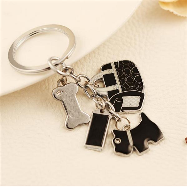Cute Puppy Bones Ladies Bags Pendant Key Chain Personalized Gift Keychain