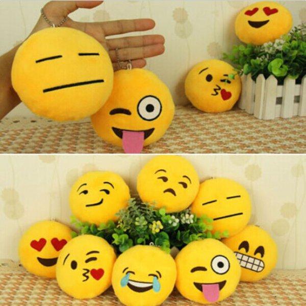 Cute Yellow Emoji Emoticon Cushion Stuffed Plush Toy Key Chain Pendant Keychain