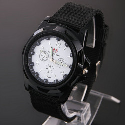 Gemius Army Black 5 Dial Colors Knitted Band Quartz Sport Watch
