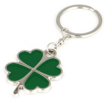 Green Lucky Four Leaf Clover Keychain Metal Key Ring Gift Keychain