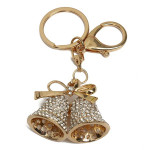 Lovely Rhinestone Double Jingle Bells Alloy Key Chain Key Ring Keychain