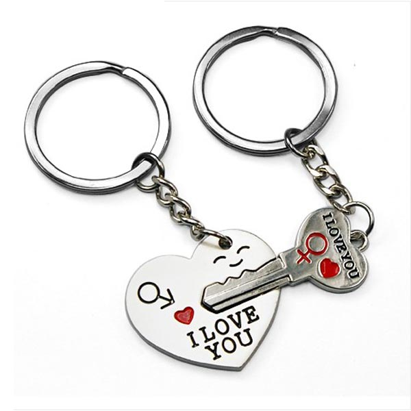 Lovers Arrow Heart Lock Key Couple Keychains Ring Gift Keychain