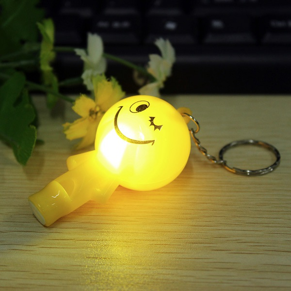 Luminous Cute LED Smile Face Key Chain Whistle Pendant Key Ring Keychain