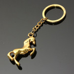 Metal 3D Horse Steed Key Chain Keyring Gift Gold Silver Plated Keychain