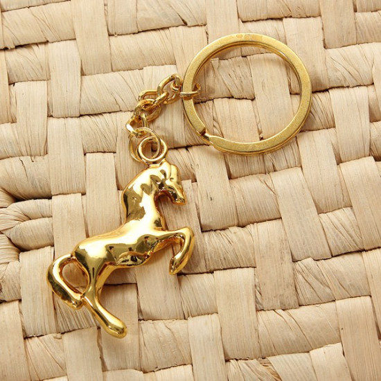 Metal 3D Horse Steed Key Chain Keyring Gift Gold Silver Plated