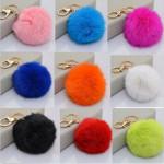 Multicolor Rabbit Fur Ball Plush Key Chain For Handbag Phone Pendant Keychain