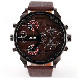 Oulm 3548 Artificial Leather Band Analog Quartz Sport Watch