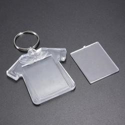 Plastic T Shirt Blank Insert Photo Picture Keychain Frame Keyring