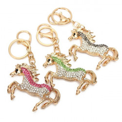 Rhinestone Horse Keychain Alloy Charm Pendant Purse Bag Key Chain