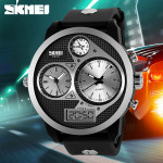 SKMEI 1033 PU Band LED Digital Waterproof Analog Quartz Watch Gym & Hiking Watch