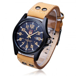 SOKI Men Grind Arenaceous Strap Calendar Quartz Analog Sport Watch