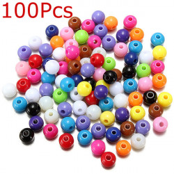100Pcs 5mm Colorful Acrylic Spacer Loose Beads Jewelry Making