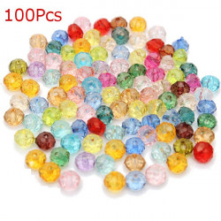 100Pcs Mixed Color Round Crystal Loose Spacer Beads DIY Jewelry
