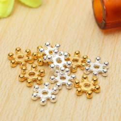 100Pcs Silver Gold 6mm Daisy Flower Spacer Beads DIY Jewelry Findings