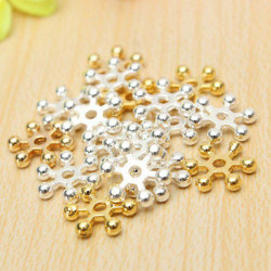 100pcs Silver Gold 10mm Daisy Spacer Metal Beads Jewelry Findings