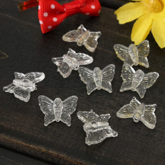 100pcs Transparent Acrylic Crystal Butterfly Loose Spacer Beads 2021