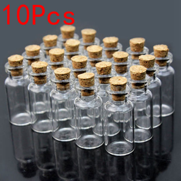 10Pcs 10x18mm Mini Clear Wishing Message Glass Bottles Vials With Cork Jewelry Design & Repair