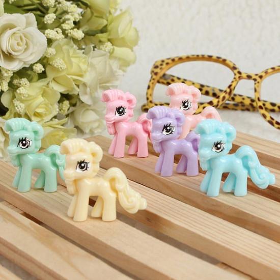 10pcs Beige Cute Cartoon Flatback Resin Pony DIY Decoration