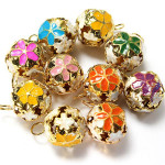 10pcs Mixed Color Metal Flower Jingle Bell Christmas Tinkle Bell Craft Jewelry Design & Repair