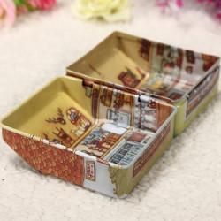 1Pc Mini Full Painted Small House Tin Box Jewelry Storage Box