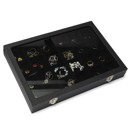 24 Grids Jewelry Tray Storage Box Necklaces Earrings Bracelets Showcase 2021