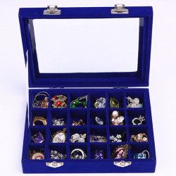 24 Grids Velvet Storage Organizer Jewelry Box Display Showcase