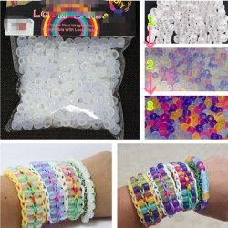 250pcs White UV Changing Color Plastic Pony Beads DIY Bracelet Crafts