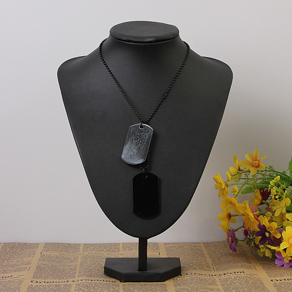 2pcs Mens Army Style Black Dog Tag Pendant Necklace Long Chain Men Jewelry