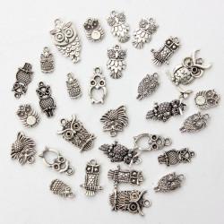 30pcs Mixed Vintage Tibetan Silver Owl Necklace Pendant Charm DIY