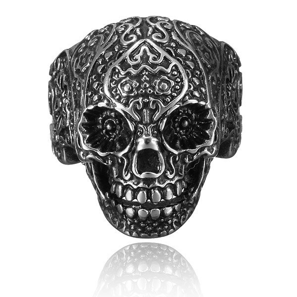 316L Stainless Steel Punk Carved Flower Skull Finger Ring Men Jewelry Men Jewelry