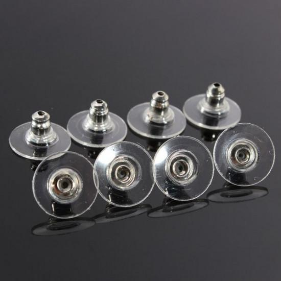 50Pcs Plastic Silver Earring Backs Stoppers Jewelry Earnuts Studs 2021