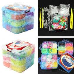 5400Pcs Rubber Bands DIY Bracelet Making Kit 3 Layers Storage Box Set