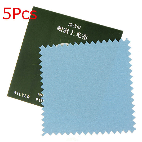 5Pcs Sterling Silver Polishing Cloth Jewelry Cleaner 8x8cm Jewelry Design & Repair