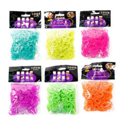 600Pcs Colorful Glow In The Dark Rubber Bands Loom With Clips Hook