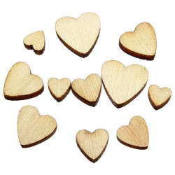 60Pcs Brown Wooden Mixed Heart Scrapbooking Craft Card