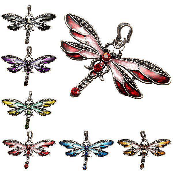 6Pcs Dragonfly Charm Rhinestone Necklace Pendant DIY Jewelry Jewelry Design & Repair