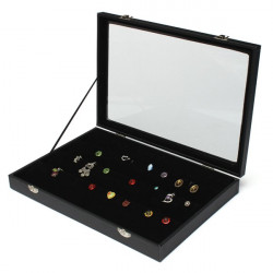 80 Slots Glass Lid Earrings Holder Box Tray Show Case Jewelry Display
