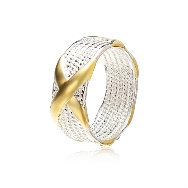925 Silver Plated Unisex Charm Gold X Finger Ring Gift Jewelry