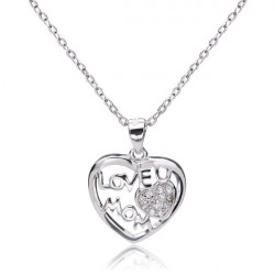 925 Sterling Silver Love U Mom Rhinestone Heart Necklace Pendant