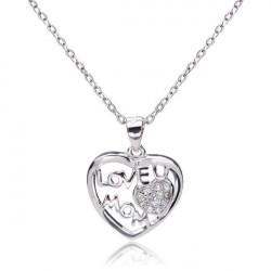 925 Sterling Silver Love U Mom Rhinestone Heart Necklace Pendant