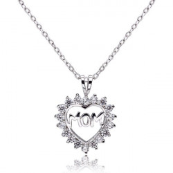 925 Sterling Silver Mom Rhinestone Hollow Heart Necklace Pendant