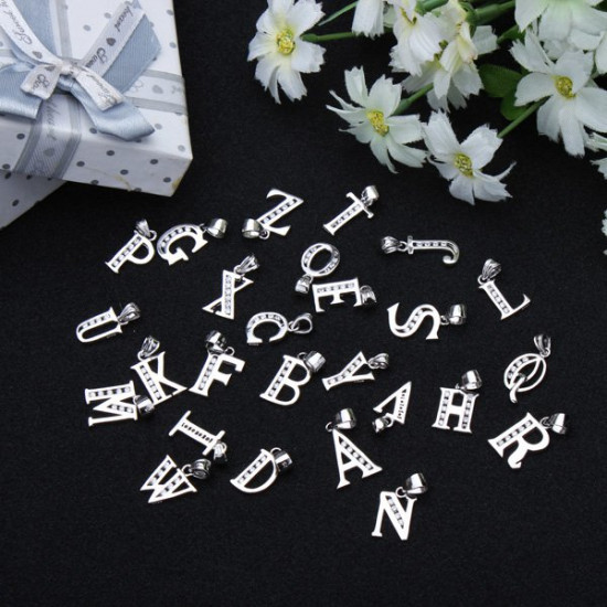 925 Sterling Silver Rhinestone Letter Charm Pendant Jewelry A To Z