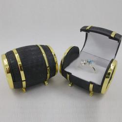 Beer Barrel Shape Velvet Ring Earrings Jewelry Display Storage Box