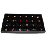 Black 24 Slots Rings Organizer Show Case Holder Box Jewelry Display Jewelry Supplies