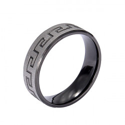 Black Silver Great Wall 316L Stainless Steel Men Finger Ring