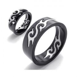 Black Titanium Steel Silver Fire Flame Men Finger Ring Band Ring