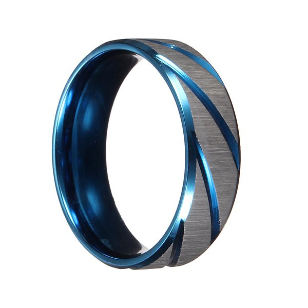 Blue Silver Brushed Section Titanium Steel Finger Ring Men Jewelry
