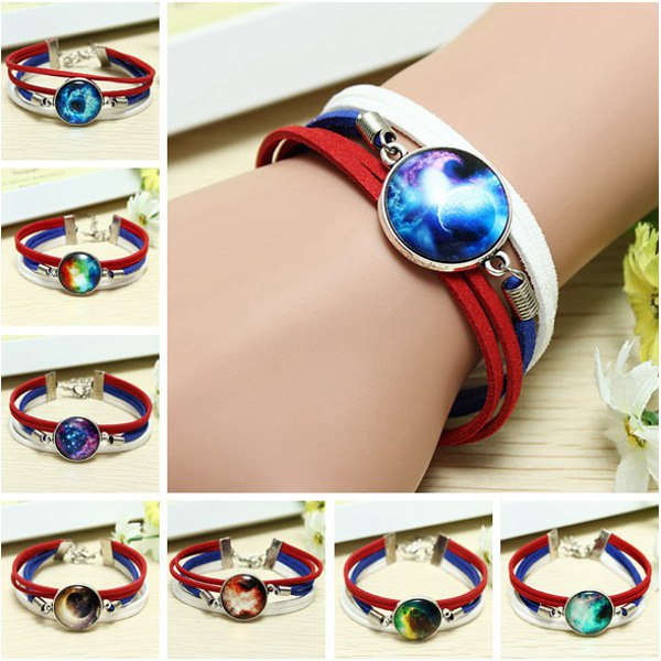 Blue White Galaxy Time Gem Charm Multilayer Leather Rope Bracelet