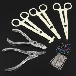 Body Jewelry Piercing Tool Kit Navel Ring Pliers Forceps Needles Set